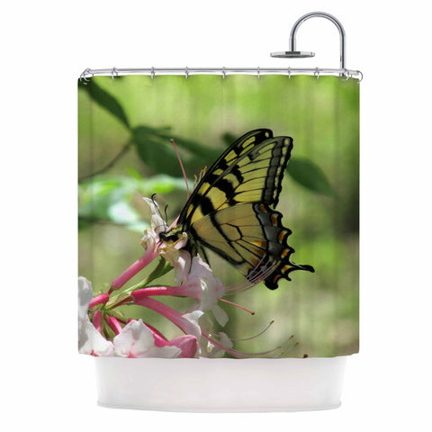 "Rosie Brown ""Gibbs Garden Butterfly"" Green Yellow Photography Shower Curtain"