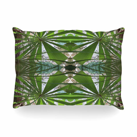 "Rosie Brown ""Palm Fronds"" Green Gray Digital Oblong Pillow"