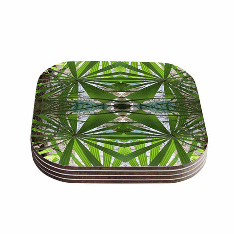 "Rosie Brown ""Palm Fronds"" Green Gray Digital Coasters (Set of 4)"