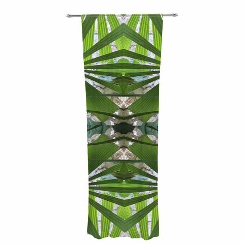 "Rosie Brown ""Palm Fronds"" Green Gray Digital Decorative Sheer Curtain"