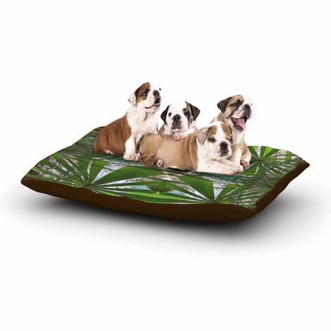 "Rosie Brown ""Palm Fronds"" Green Gray Digital Dog Bed"