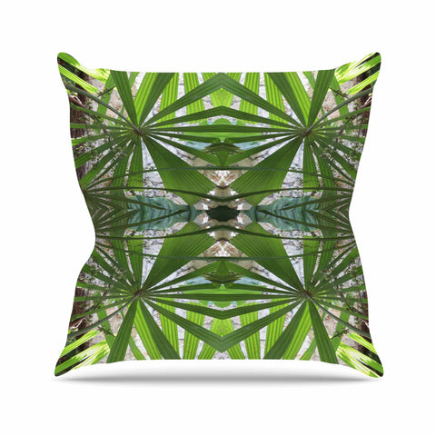 "Rosie Brown ""Palm Fronds"" Green Gray Digital Outdoor Throw Pillow"