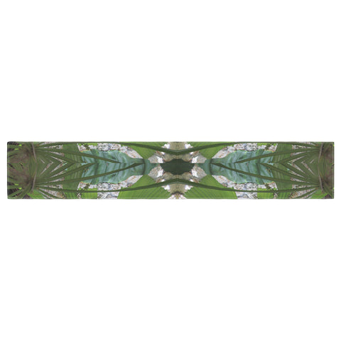 "Rosie Brown ""Palm Fronds"" Green Gray Digital Table Runner"