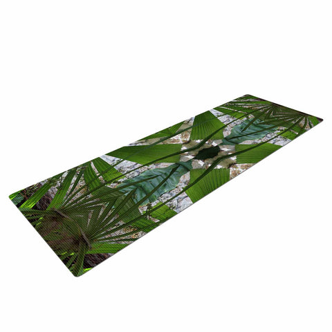 "Rosie Brown ""Palm Fronds"" Green Gray Digital Yoga Mat"