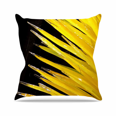 "Rosie Brown ""Glass Art"" Yellow Black Photography Outdoor Throw Pillow"
