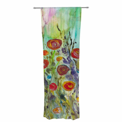 Rosie Brown Klimt Inspired Multicolor Floral Nature Painting Decorative Sheer Curtain