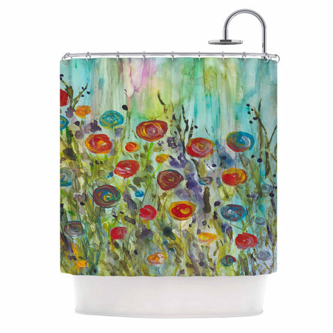 Rosie Brown Klimt Inspired Multicolor Floral Nature Painting Shower Curtain