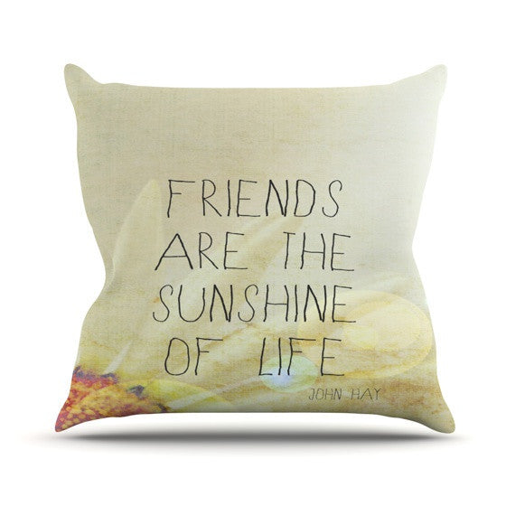 "Rachel Burbee ""Friends & Sunshine"" Outdoor Throw Pillow - KESS InHouse  - 1"
