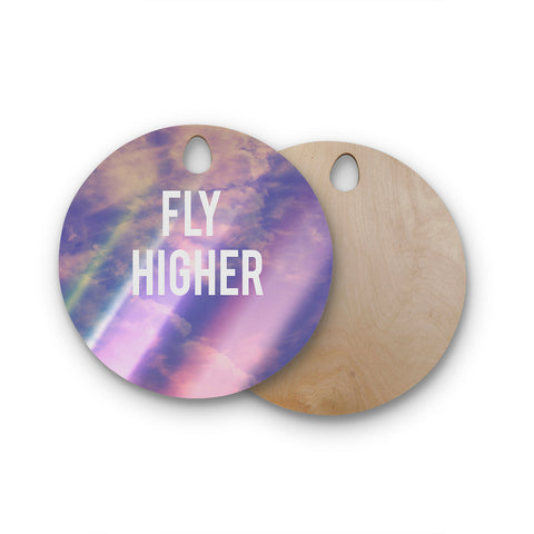 "Rachel Burbee ""Fly Higher"" Round Wooden Cutting Board"