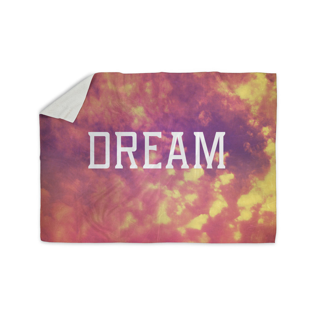 "Rachel Burbee ""Dream"" Pink Orange Sherpa Blanket - KESS InHouse  - 1"