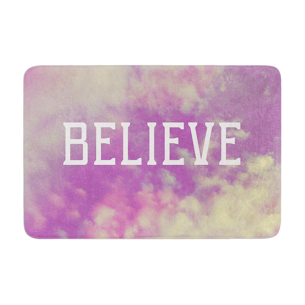 "Rachel Burbee ""Believe"" Purple Clouds Memory Foam Bath Mat - KESS InHouse"