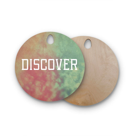 "Rachel Burbee ""Discover"" Green Orange Round Wooden Cutting Board"