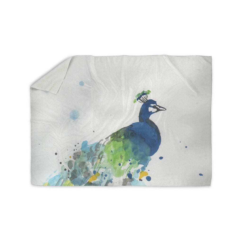 "Rebecca Bender ""Abstract Watercolor Peacock"" Blue Teal Sherpa Blanket - KESS InHouse  - 1"