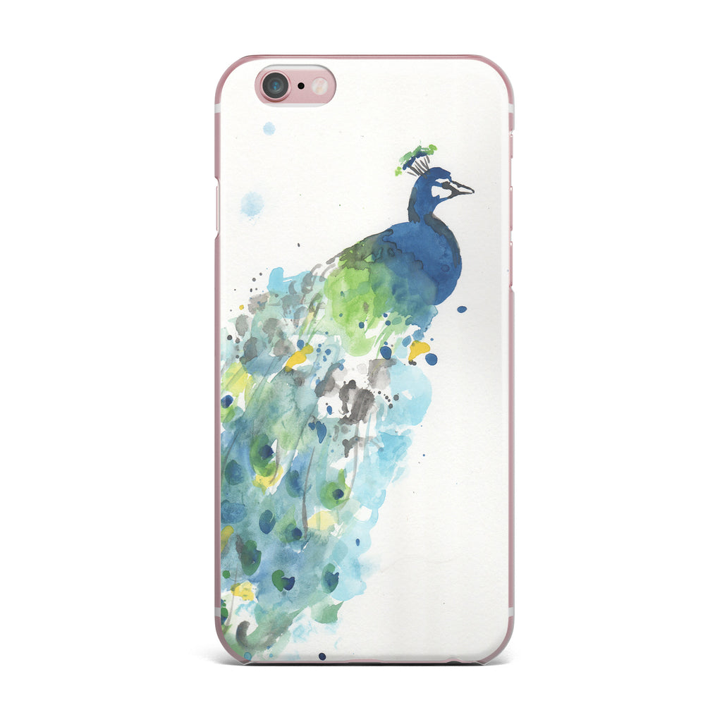 "Rebecca Bender ""Abstract Watercolor Peacock"" Blue Teal iPhone Case - KESS InHouse"