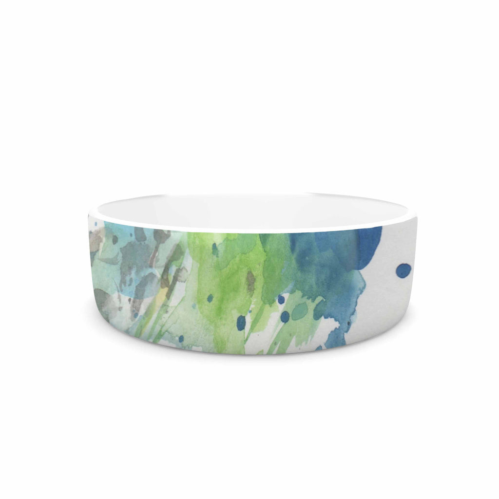 "Rebecca Bender ""Abstract Watercolor Peacock"" Blue Teal Pet Bowl - KESS InHouse"