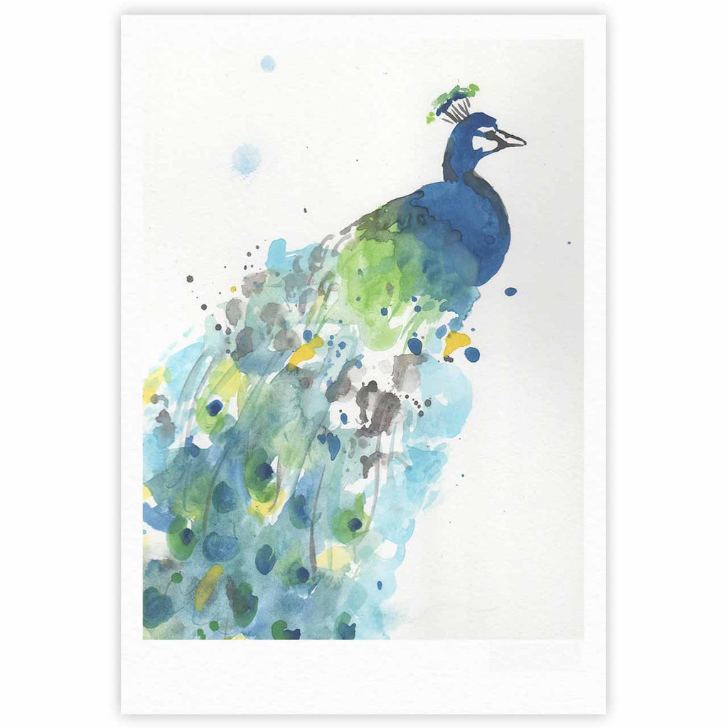 "Rebecca Bender ""Abstract Watercolor Peacock"" Blue Teal Fine Art Gallery Print - KESS InHouse"