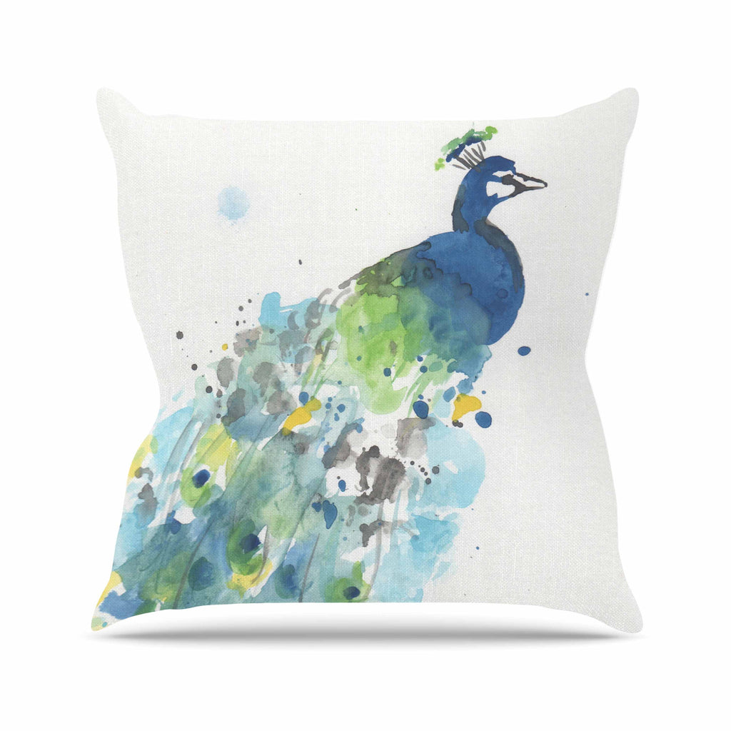 "Rebecca Bender ""Abstract Watercolor Peacock"" Blue Teal Outdoor Throw Pillow - KESS InHouse  - 1"