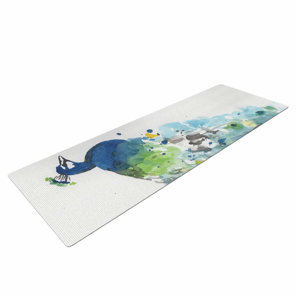 "Rebecca Bender ""Abstract Watercolor Peacock"" Blue Teal Yoga Mat - KESS InHouse  - 1"