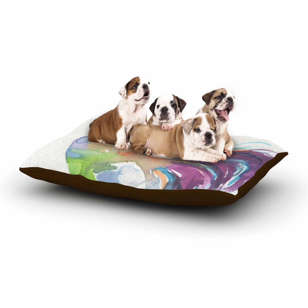 "Rebecca Bender ""Watercolor Rooster"" Multicolor Bird Dog Bed - KESS InHouse  - 1"