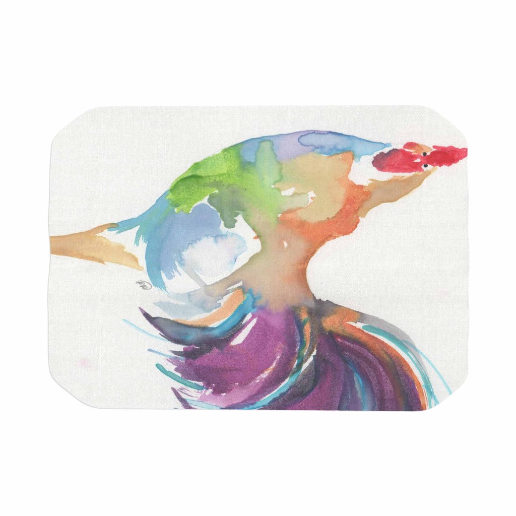 "Rebecca Bender ""Watercolor Rooster"" Multicolor Bird Place Mat - KESS InHouse"