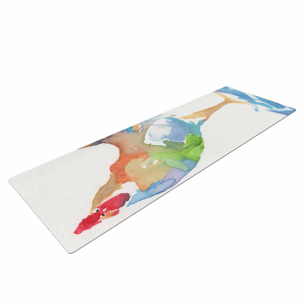 "Rebecca Bender ""Watercolor Rooster"" Multicolor Bird Yoga Mat - KESS InHouse  - 1"