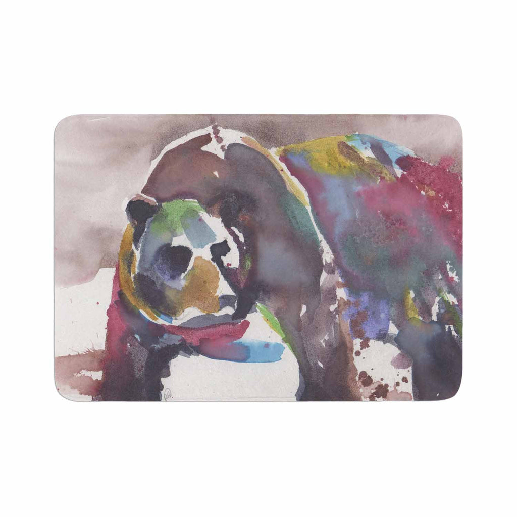 "Rebecca Bender ""Grizzly Bear Watercolor"" Abstract Animal Memory Foam Bath Mat - KESS InHouse"