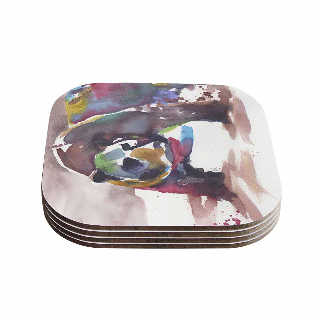 "Rebecca Bender ""Grizzly Bear Watercolor"" Abstract Animal Coasters (Set of 4)"