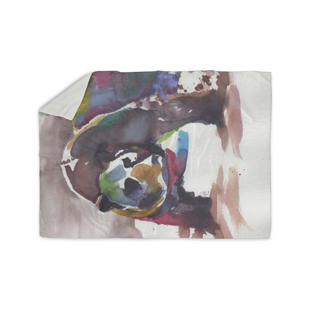 "Rebecca Bender ""Grizzly Bear Watercolor"" Abstract Animal Sherpa Blanket - KESS InHouse  - 1"