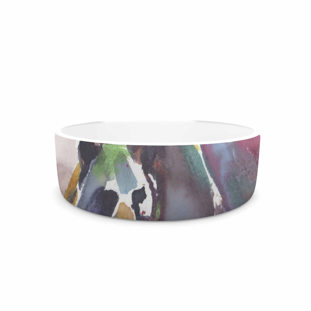 "Rebecca Bender ""Grizzly Bear Watercolor"" Abstract Animal Pet Bowl - KESS InHouse"