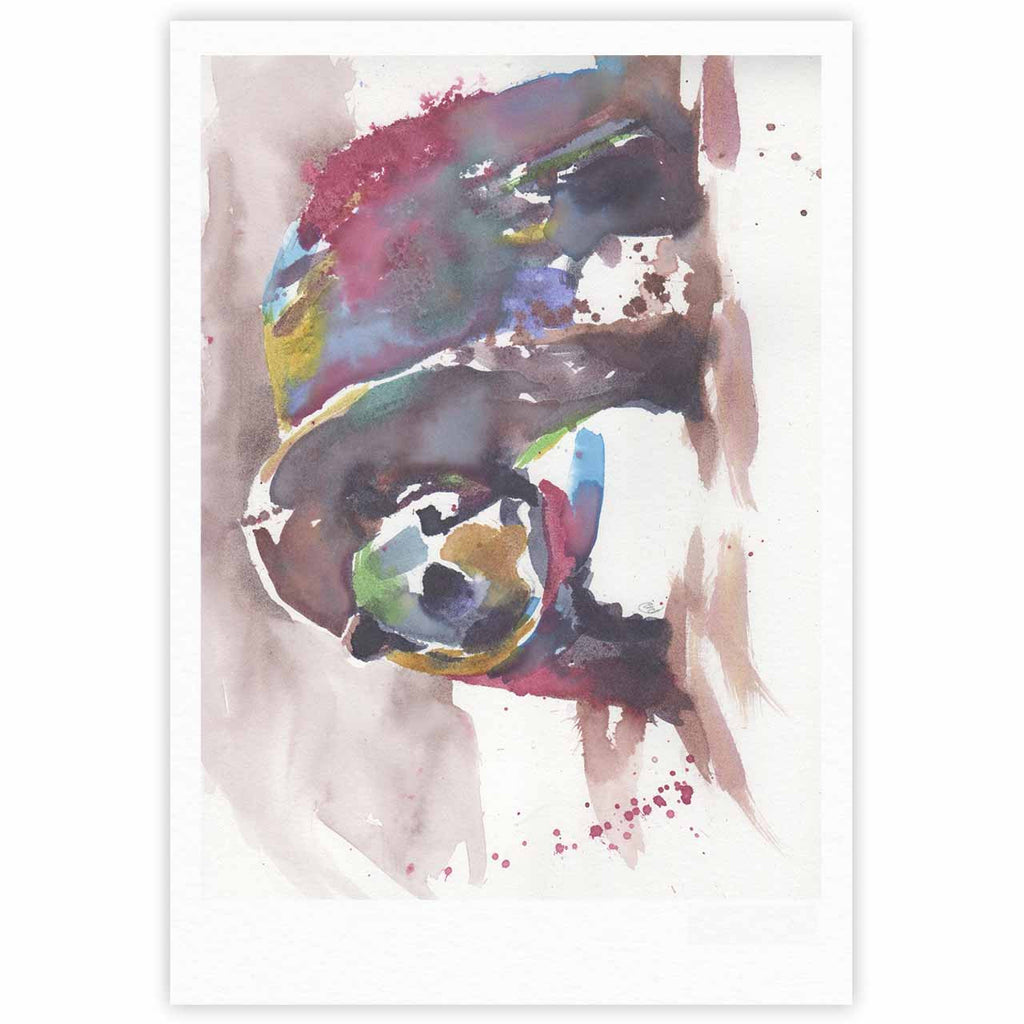 "Rebecca Bender ""Grizzly Bear Watercolor"" Abstract Animal Fine Art Gallery Print - KESS InHouse"