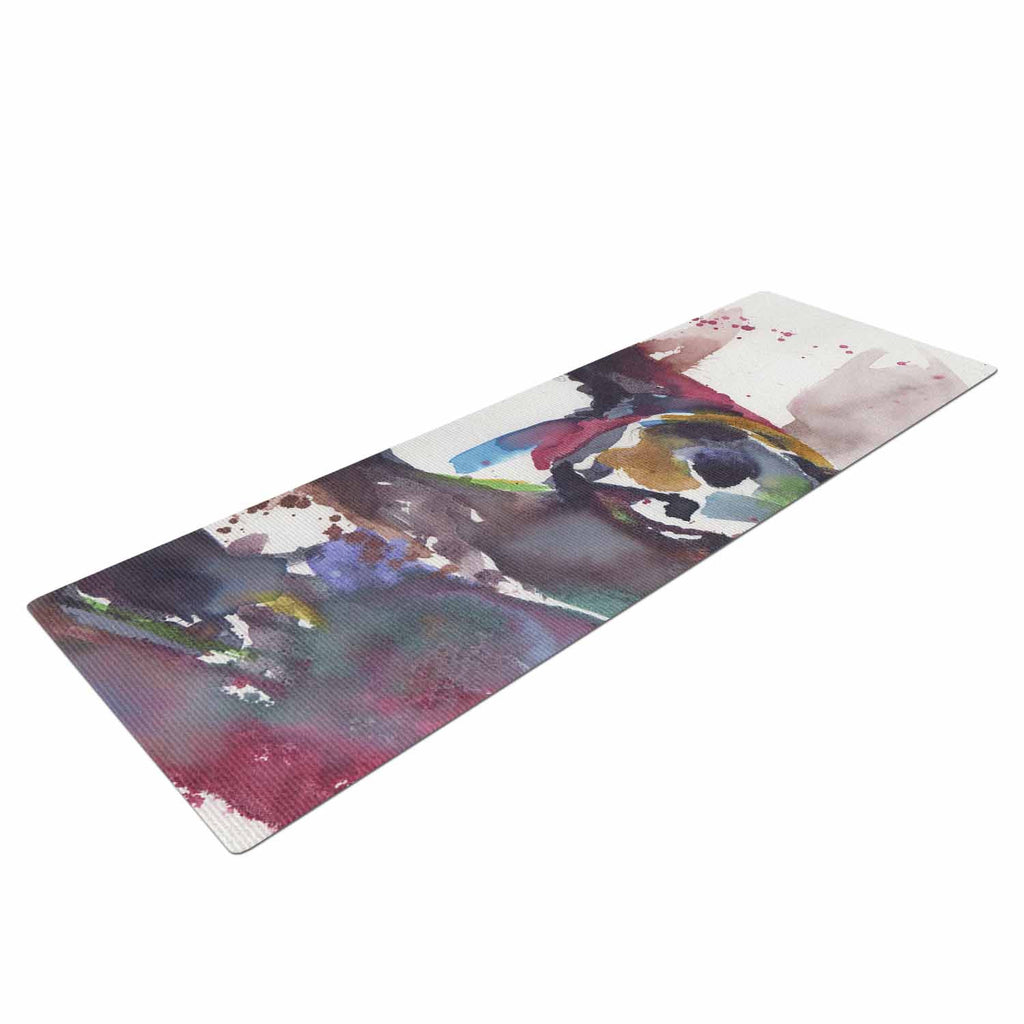 "Rebecca Bender ""Grizzly Bear Watercolor"" Abstract Animal Yoga Mat - KESS InHouse  - 1"