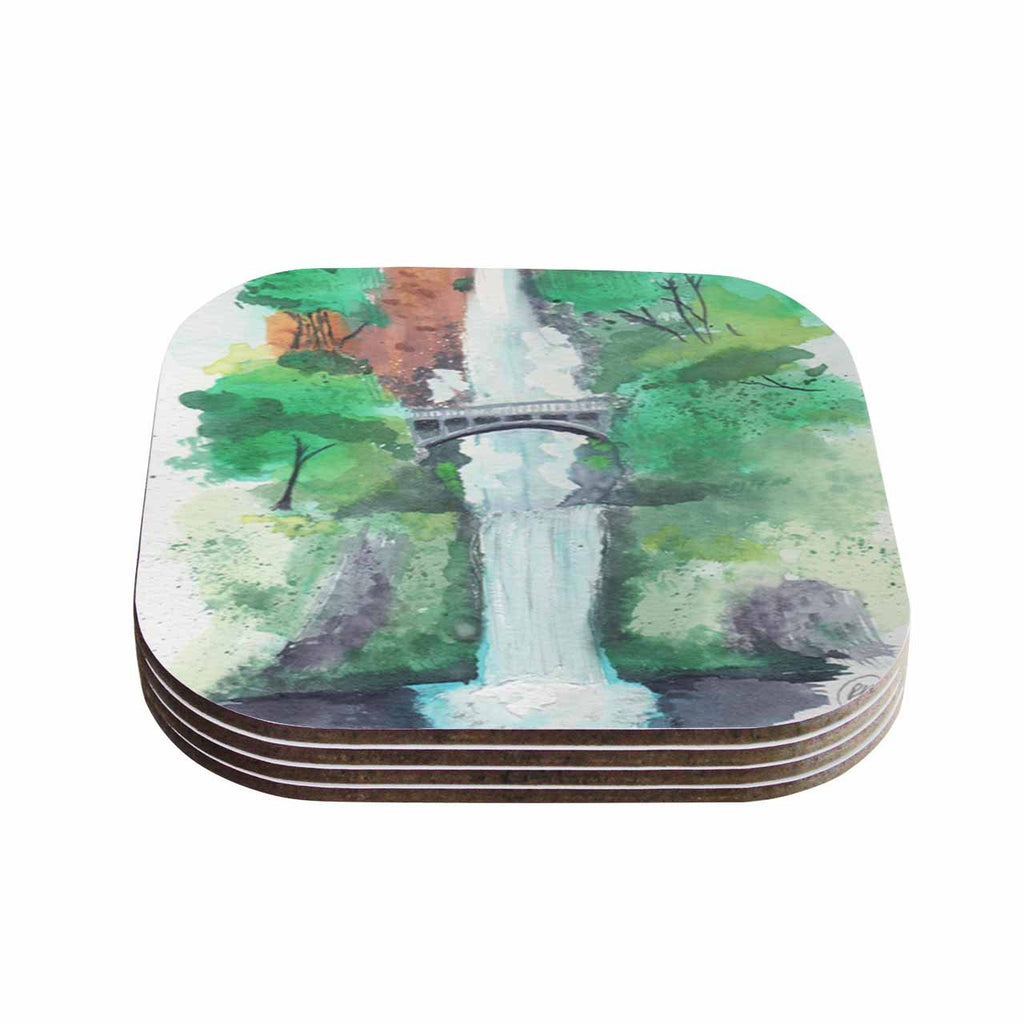 "Rebecca Bender ""Multnomah Falls Watercolor"" Green Painting Coasters (Set of 4)"