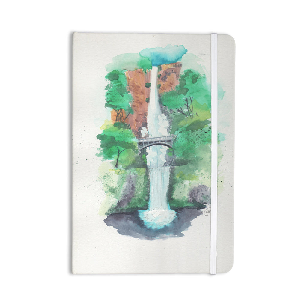 "Rebecca Bender ""Multnomah Falls Watercolor"" Green Painting Everything Notebook - KESS InHouse  - 1"