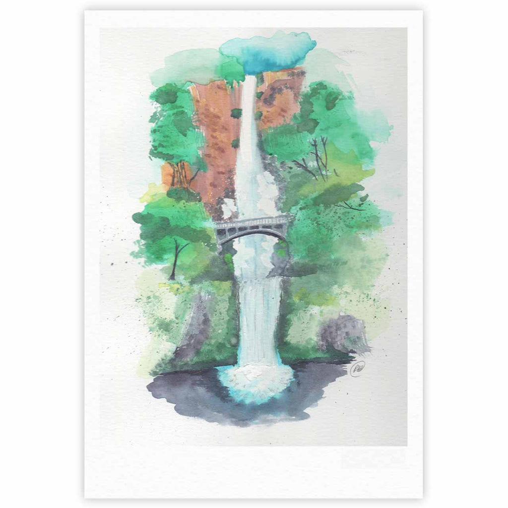 "Rebecca Bender ""Multnomah Falls Watercolor"" Green Painting Fine Art Gallery Print - KESS InHouse"