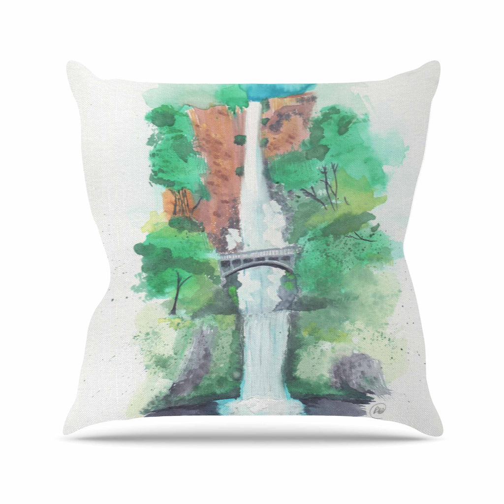"Rebecca Bender ""Multnomah Falls Watercolor"" Green Painting Throw Pillow - KESS InHouse  - 1"