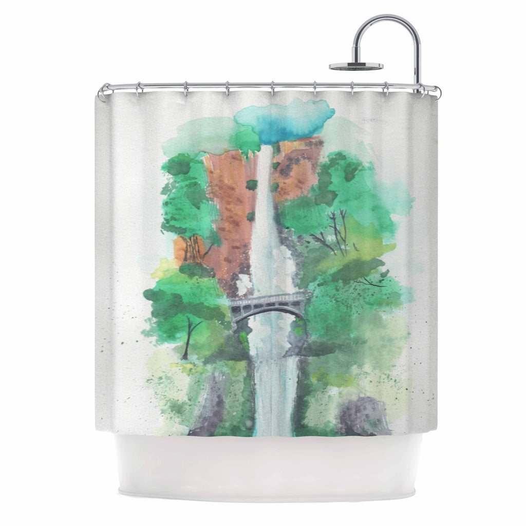 "Rebecca Bender ""Multnomah Falls Watercolor"" Green Painting Shower Curtain - KESS InHouse"