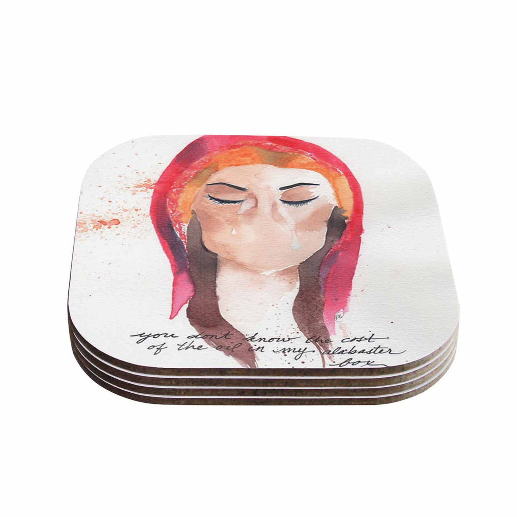 "Rebecca Bender ""Mary Magdelene"" Beige Red Coasters (Set of 4)"