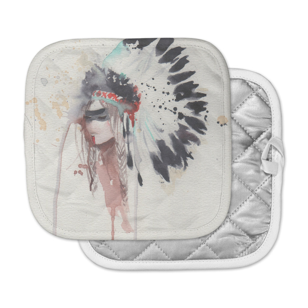 "Rebecca Bender ""Warrior Bride"" Beige Multicolor Pot Holder"