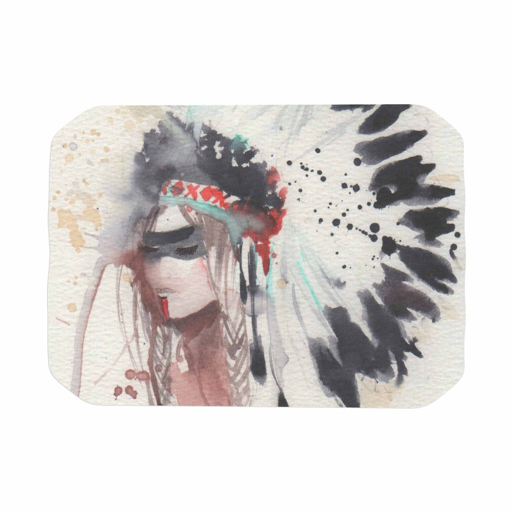 "Rebecca Bender ""Warrior Bride"" Beige Multicolor Place Mat - KESS InHouse"