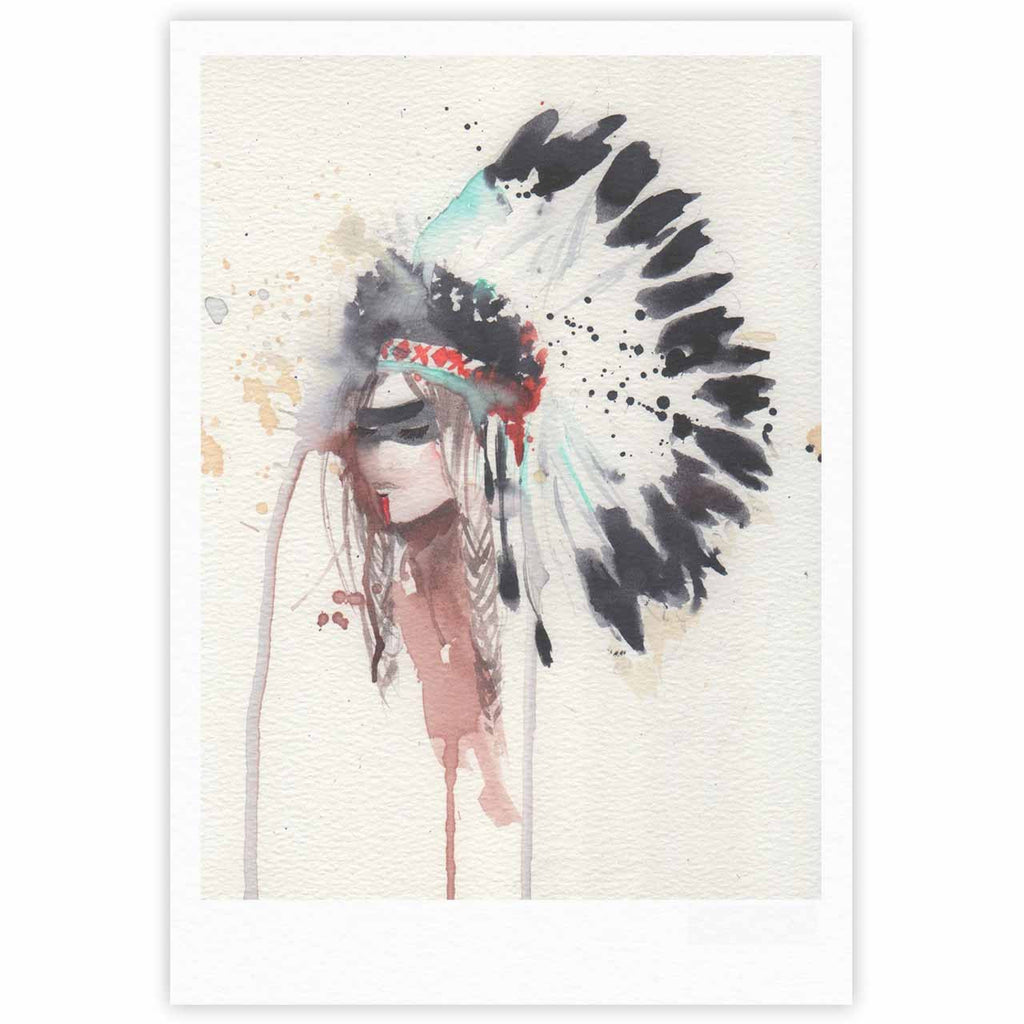 "Rebecca Bender ""Warrior Bride"" Beige Multicolor Fine Art Gallery Print - KESS InHouse"