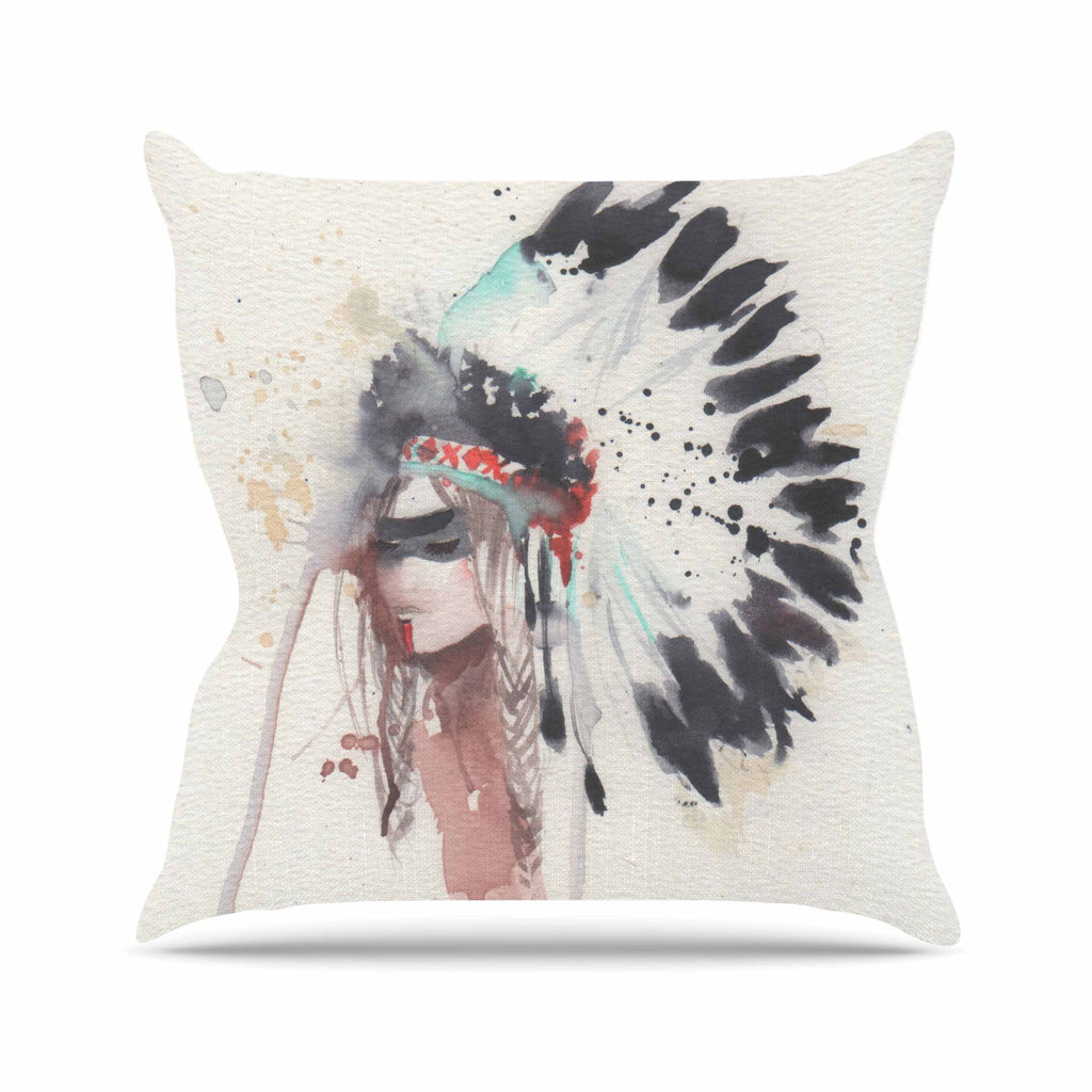 "Rebecca Bender ""Warrior Bride"" Beige Multicolor Outdoor Throw Pillow - KESS InHouse  - 1"