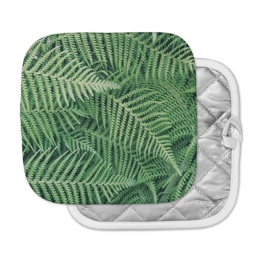"Richard Casillas	 ""Ferns"" Green Black Pot Holder"