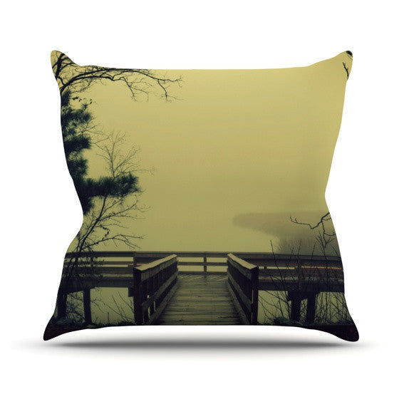 "Robin Dickinson ""Fog on the River"" Outdoor Throw Pillow - KESS InHouse  - 1"