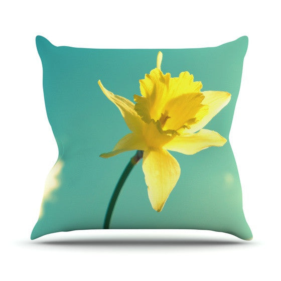 "Robin Dickinson ""Daffodil"" Outdoor Throw Pillow - KESS InHouse  - 1"