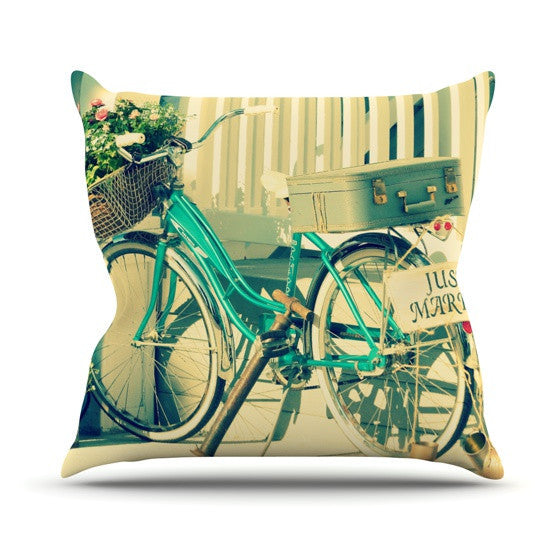 "Robin Dickinson ""Just Married"" Outdoor Throw Pillow - KESS InHouse  - 1"