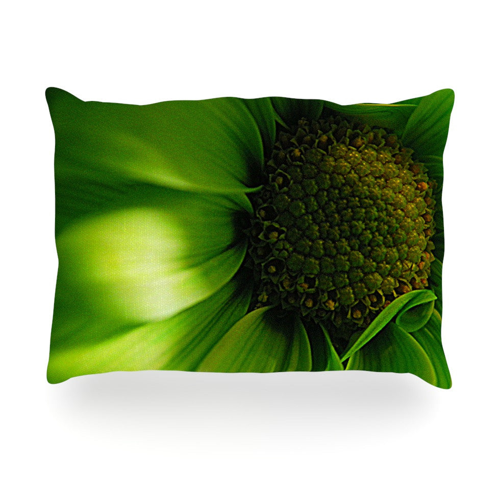 "Robin Dickinson ""Green Flower"" Oblong Pillow - KESS InHouse"