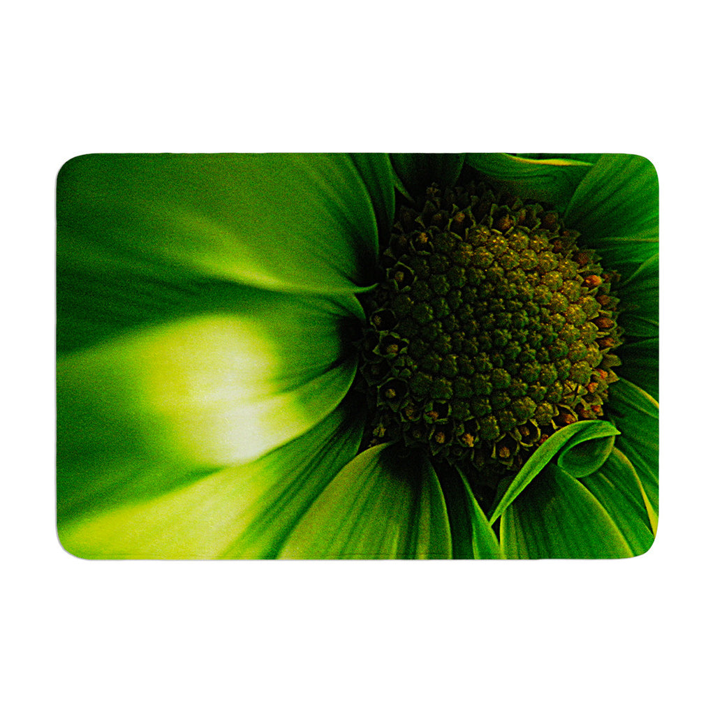 "Robin Dickinson ""Green Flower"" Memory Foam Bath Mat - KESS InHouse"