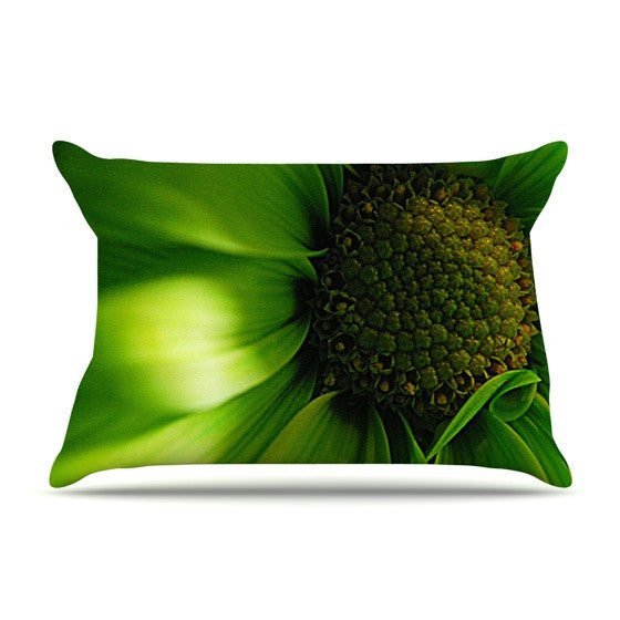 "Robin Dickinson ""Green Flower"" Pillow Sham - KESS InHouse"