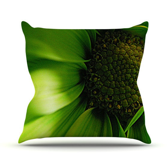 "Robin Dickinson ""Green Flower"" Outdoor Throw Pillow - KESS InHouse  - 1"