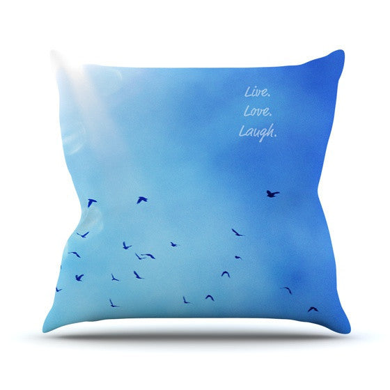 "Robin Dickinson ""Live Love Laugh"" Outdoor Throw Pillow - KESS InHouse  - 1"
